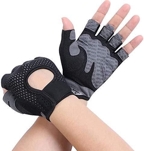 flintronic Gym Handschoenen, ademende trainingshandschoenen met microvezelstof, antislip siliconen gewatteerde…