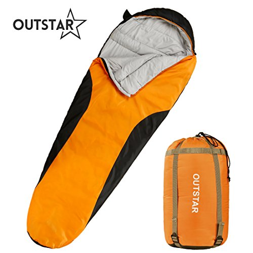 OUTSTAR Lightweight Waterproof Envelope Sleeping Bag with Compression Sack for Kids,Boys, Girls, Teens & Adults. Indoor &Outdoor Camping, Travelling, Hiking & Backpacking. (Lime & Black/Right Zip)