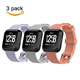 hengkang Fitbit Versa Bands, Sport Silicone Replacement Watch Band Accessories for Fitbit Versa Fitness Smartwatch, With Metal Buckle Wristband Strap Bracelet Women Men (Purple Gray Rose Gold)