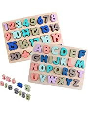 Voamuw Wooden Peg Puzzles Kid Toy Set - Big Alphabet & Numbers ABC Toddlers Puzzles Board 2-Pack for Boys Girls' Preschool Educational Kindergarten Learning Toys