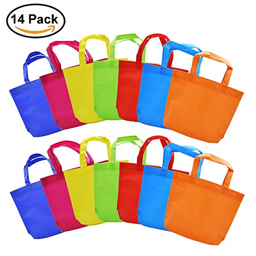 Gift Tote Bags DIY Party Favor Non-woven Blank Bags 7 Assorted Bright Color with Handle,13 by 10 inch for Kids Adults (14 (Diy Bag)