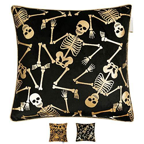 Hahadidi Skull Throw Pillow Cover Square Decorative Pillowcase Cushion Case for Car,Sofa,Bed,Home Decor Design Black Italian Velvet Creative Gift,18x18 Inch(45x45 cm)