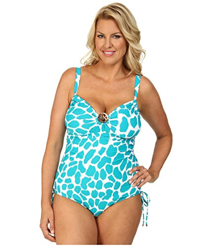 9ff417b10a254 MICHAEL Michael Kors Women s Plus Size Printed Ruched One-Piece Swimsuit  (16W