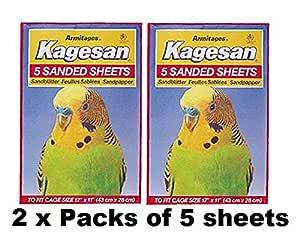 Kagesan Juego de 10 hojas de papel de lija para jaula de pájaros ...