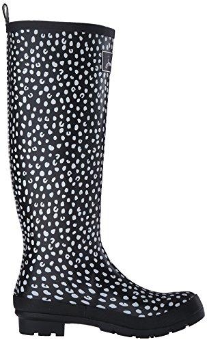 Joules negro White Boot Print blanco Womens Spot Welly Rain Black rRwraf