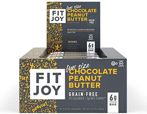FitJoy Mini Protein Bars, Grain Free, Gluten Free, Low Carb, High Protein Snacks - Keto and Kid Friendly, Low Sugar 6g Protein Bars - Chocolate Peanut Butter, 16 Pack of .67oz Fun Size Bars