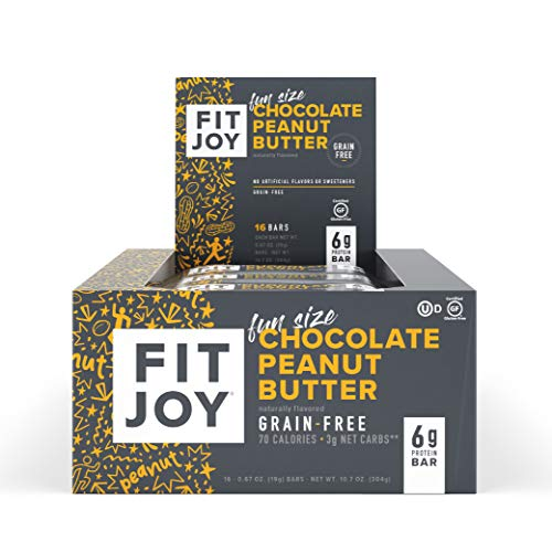 FitJoy Fun Size Protein Bars, Chocolate Peanut Butter, Grain Free, Gluten Free, Low Net Carb, High Protein Snack, Keto and Kid Friendly, Pack of 16 Mini Bars ()