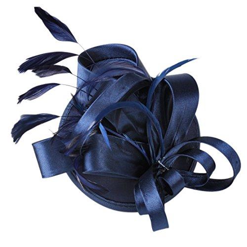 Marine-Blau-Haarklemme Fascinator Haarspange Haarschmuck Kopfschmuck MiniHut mit Feder Satin