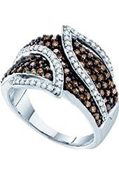10K White Gold Brown Cognac Diamond Leaf Engagement Ring Wedding Band 1 Cttw