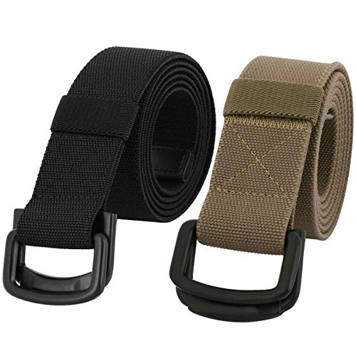 Samtree Military Tactical Belts for Men, Duty Belt with Double D Ring Buckle 2 Pack (Khaki+Black)