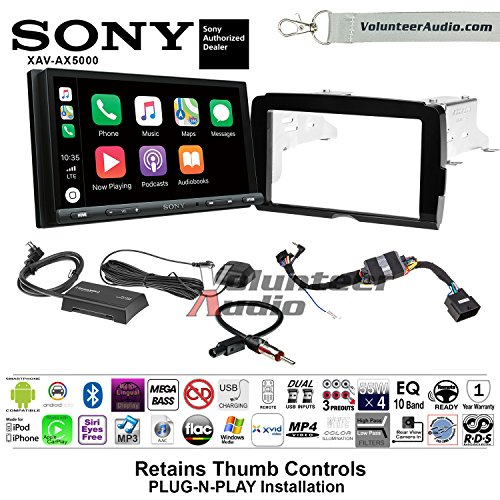Volunteer Audio Sony XAV-AX5000 2014-2017 Harley Davidson Aftermarket Double Din Radio Installation Kit With Bluetooth Android Auto Apple Carplay, Includes Sirius XM Adapter