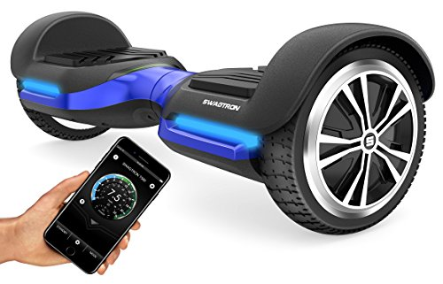 Swagtron App-Enabled T580 Bluetooth Hoverboard w/Speaker Smart Self-Balancing Wheel - Available on iPhone & Android (Blue)