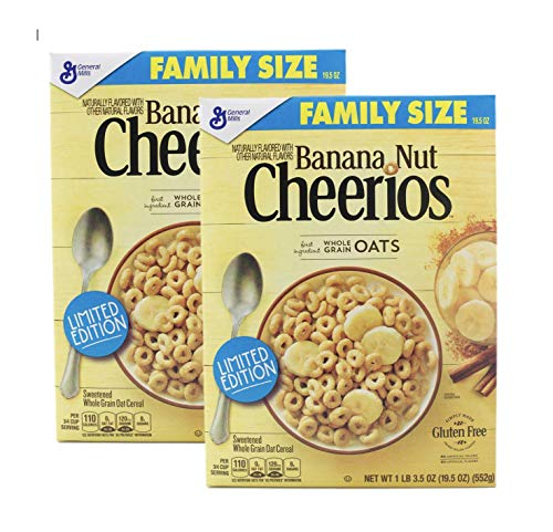 Banana Nut Cheerios Family Size 19.5 oz each (Pack of 2)