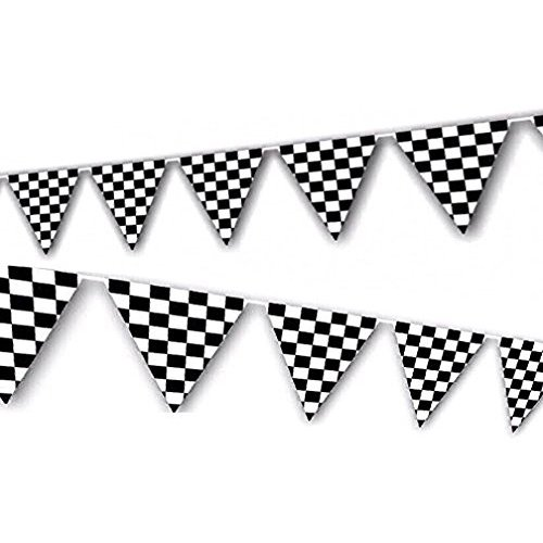 Adorox 100ft Checkered Black and White Flags Racing Kids Party Banner for $<!--$10.99-->