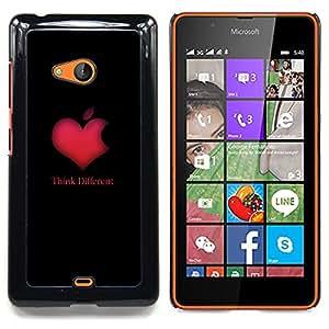 "Qstar Arte & diseño plástico duro Fundas Cover Cubre Hard Case Cover para Nokia Lumia 540 (Think Different de Apple del corazón"")"
