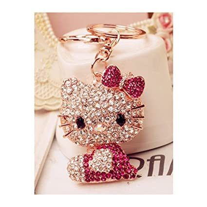 15b497620 Swarovski Elements Rhinestone Crystals Keychain Creative Gift Hello Kitty  Dangle Charm Car Gift Accessory Handbag Purse