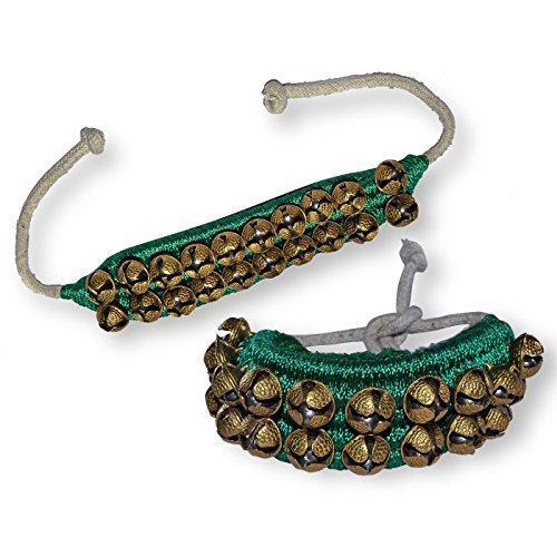 Prisha India Craft Kathak Ghungroo (16 No. Ghungroo) (2) Two Line Big Dancing Bells Ghungroo Pair Handmade Indian Classical Dance Accessories Bharatnatyam, Kuchipudi, Odissi Ghungru Green Pad by Prisha India Craft