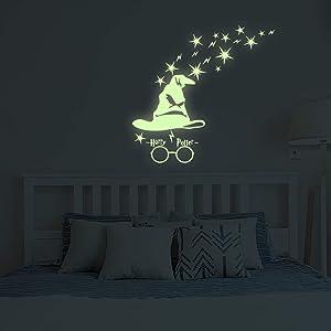 Glow in The Dark Wall Stickers, Benbo Stars Harry Potter Peel Vinyl Luminous Gifts Wall Decals for DIY Boys Girls Nursery Bedroom Mural Home Decor