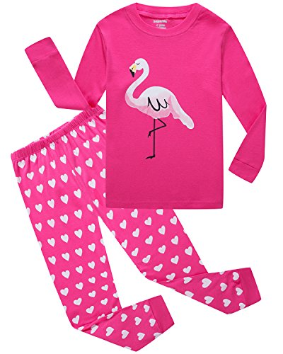 Girls Pajamas Flamingo Little Kids Pjs 100% Cotton Toddler Clothes Sleepwear Size ()