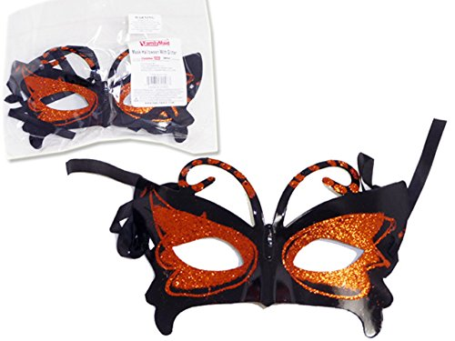 MASK HALLOWEENW/GLITTERBLACK & ORANGE CLR , Case of 288