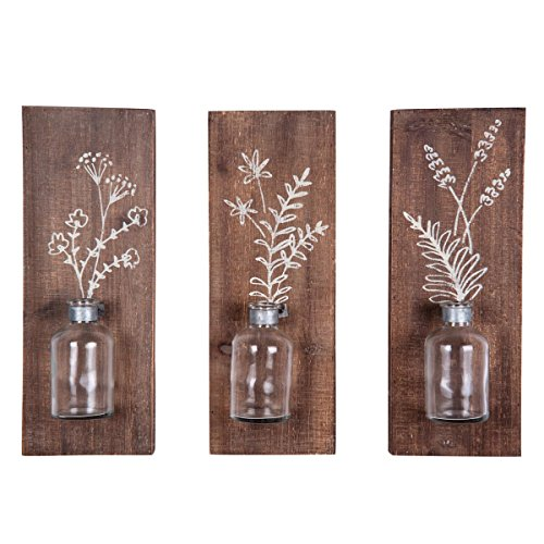 Foreside Home & Garden Foreside Set of Three Fern Wall Vases