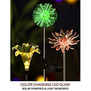 BRIGHT ZEAL BZ [Set of 3] LED Color Changing Solar Stake Lights Outdoor - Solar Light LED Garden Decor Statues (DANDELION, LILY, SUNFLOWER) - Patio Lights LED Outdoor Multicolor Changing LED Lights