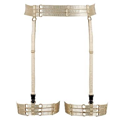 75a601d82 PETMHS Women Yellow Body Harness Garter Belt Strappy Stockings Lingerie  Elastic Suspender Belts