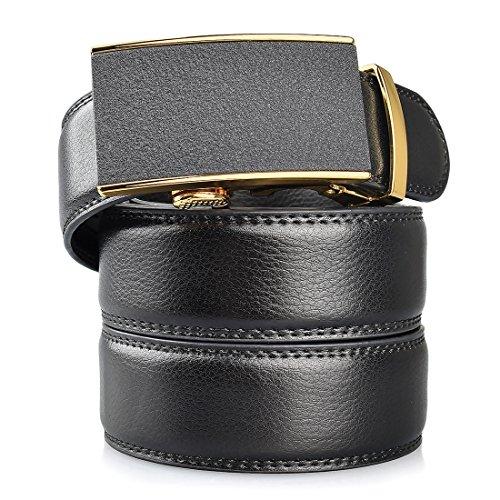 Buckle Black Calfskin Belt (Slide Fashion Adjustable Men's Black Leather Ratchet Belt With Automatic Buckle Wide)