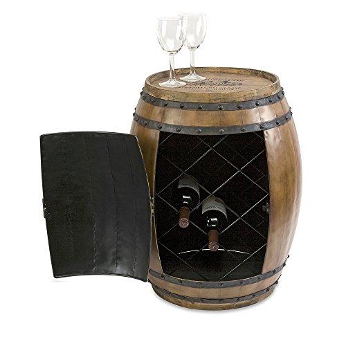 Imax 74211 Napa Barrel Side Table - Wooden Barrel End Table, Rustic Side Table with Storage, Living Room Furniture. Vintage Wooden Barrels