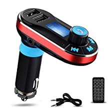 Perbeat BT66 Wireless Bluetooth FM Transmitter Hands free Car Kit Radio Adapter MP3 Player Dual USB Car Charger support SD Card USB Flash Disk for Smart phone, iPhone, iPad,etc (Red)