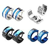 PiercingJ 6-8pcs 18G Stainless Steel Small Hoop Huggie Hinge Stud Earrings Silver Black Blue Gold