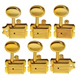 Aklot String Tuning Pegs Keys Tuners Machine Heads for Fender Tele Strat Electric Guitar Replacement Closed 6R Inline Gold