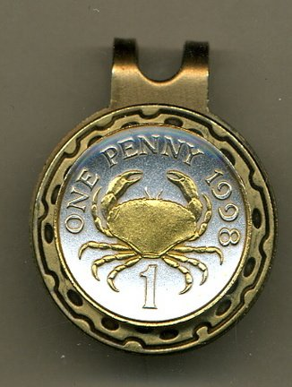 Gorgeous 2-Toned Gold on Silver Guernsey Crab - Coin - Golf Ball Marker - Hat Clips