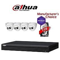 Dahua Branded 4CH Tribrid 1080P DVR Package: HCVR7204 w/1TB HDD + (4) 2MP HDW12A0EN IR 3.6MM Eyeball