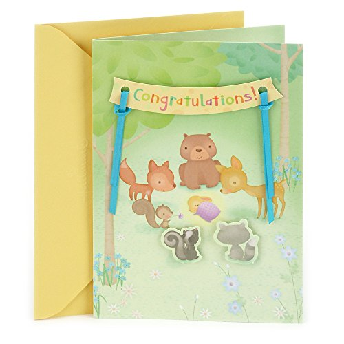 Hallmark Baby Congratulations Greeting Card (Animals in the Woods)