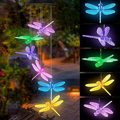 Tvoip Color Changing LED Solar Power Lamp Dragonfly Wind Chimes Garden Decoration Yard Waterproof LED Light Lighting Hanging Decor Dragonfly