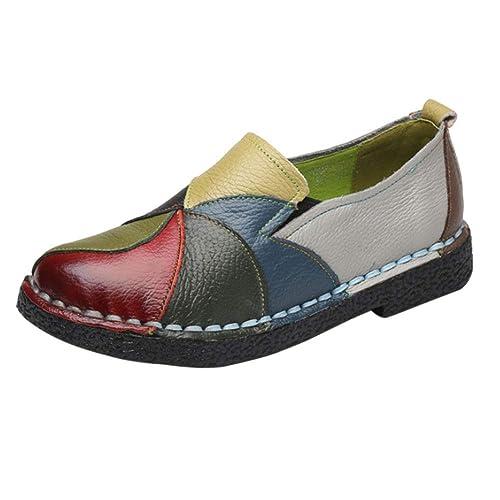 Huatime Informal Cuero Conducir Mocasines - Mujeres Suave Plano Bombas Señoras Trabajo Chicas Tobillo Bote Zapatos: Amazon.es: Zapatos y complementos