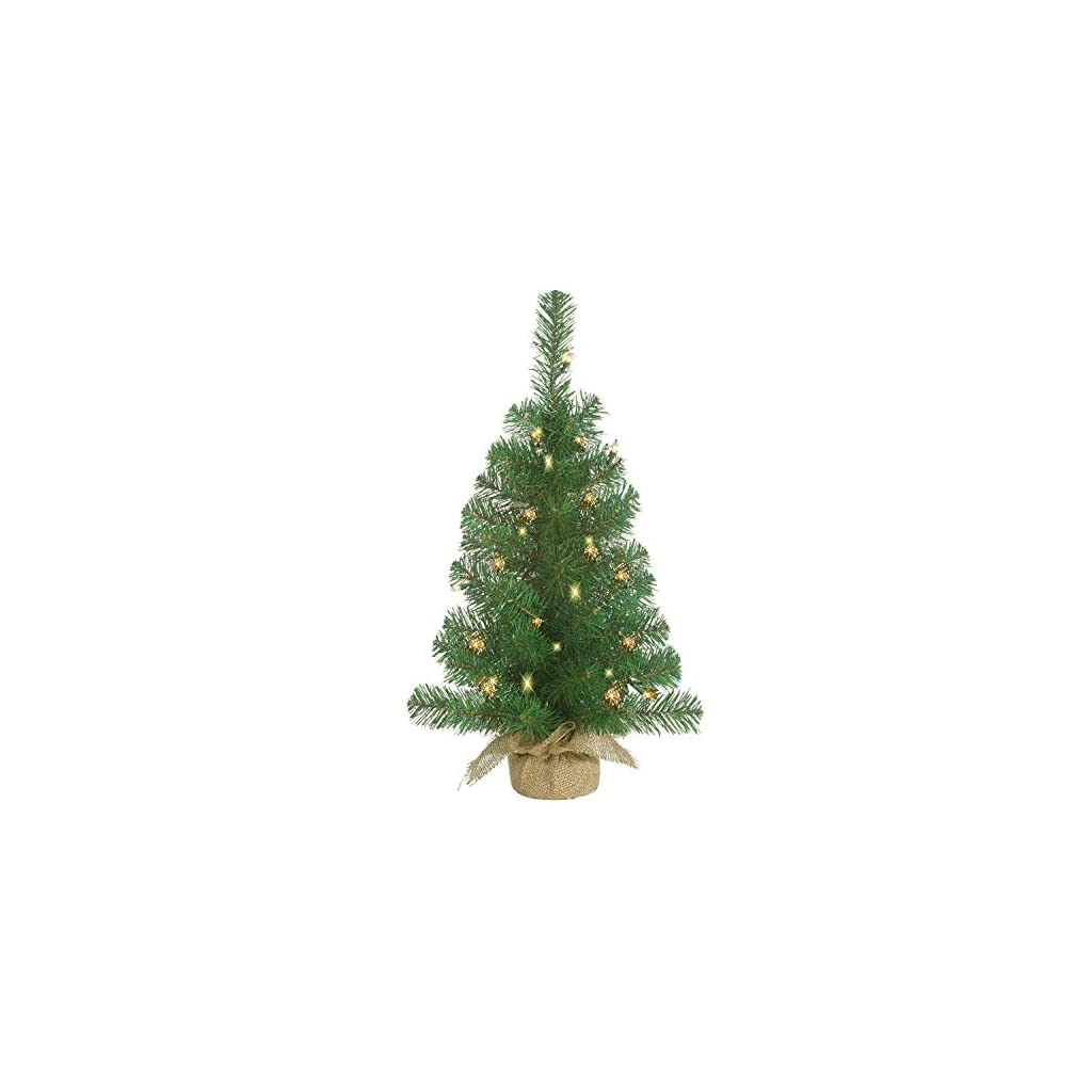 Lighted-Christmas-Pine-Tree-18-Inches-High-with-Battery-Operated-Timer-and-Warm-White-LED-Lights-Burlap-Wrapped-Base-Artificial-Pre-Lit-Christmas-Pine-Tree-Indoor-Outdoor-Steady-and-Flashing