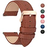 6 Colors for Quick Release Leather Watch Band, Fullmosa Cross Genuine Leather Watch Strap 14mm Brown