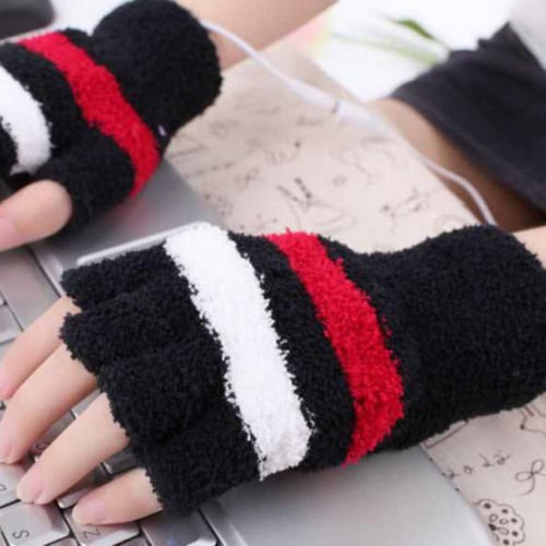 OKOKMALL US--USB Powered Heated Gloves Winter Hand Warmer Electric Heating PC Laptop 1 Pair