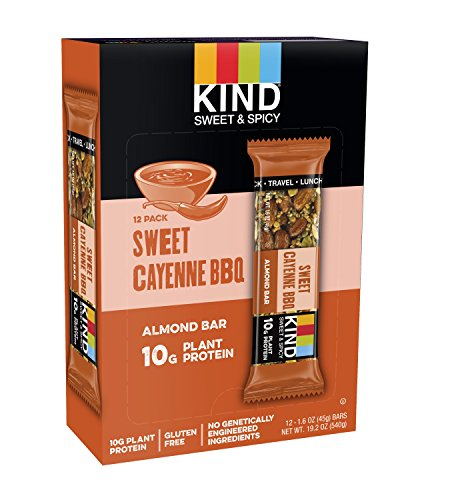 KIND Bars, Sweet Cayenne BBQ, 12 Bars, Gluten Free, Sweet & Spicy KIND Bars, 10g Protein