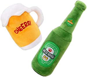 CheeseandU Dog Squeaky Plush Toys Set - Puppy Chew Toy -2 Pack Cute Stuffed Plush Beer Mug Bottle Toy for Puppy Small Medium Dogs