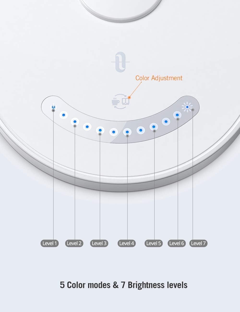 TaoTronics/ /12/W L/ámpara de escritorio LED l/ámpara de mesa de color de 5/y 7/niveles de intensidad regulable Touch quemador Distancia USB de conexi/ón para carga del Smartphones