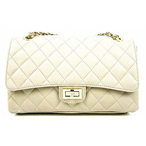 Inspired Cream Taupe Italian Leather Trims Gold Quilted Handbag Designer with 88tnzq1xw