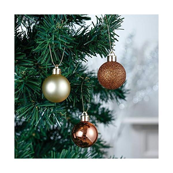 Valery Madelyn Palle di Natale 40 Pezzi 4 cm Palline di Natale, Legno Essenziale Rame e Oro, Base Infrangibile Ornamenti Palla di Natale Decorazione per Albero di Natale 5 spesavip