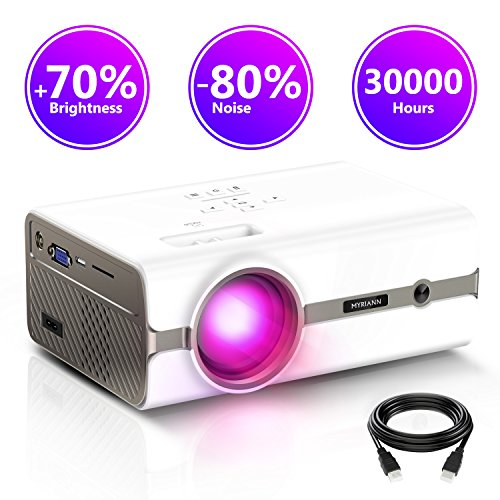 Projector,Myriann Portable Mini Multimedia Home Video LCD Projector Support 1080P for Home Theatre Support HD HDMI VGA AV USB Laptop iPhone/iPad Smartphone TV Stick Xbox,2018 Newest Upgraded by MYRIANN