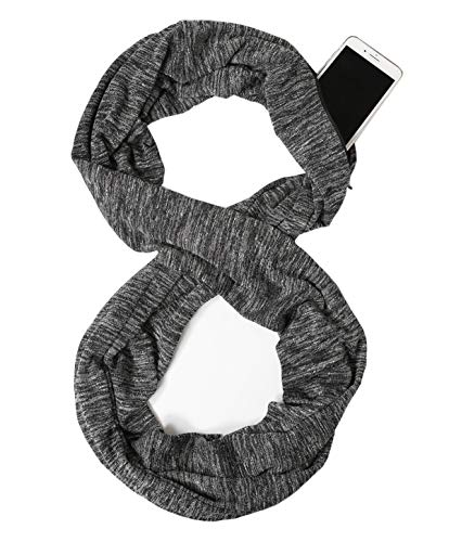Scarf With Pockets - USAstyle Zipper Hidden Pocket Infinity Scarf - Black Women Men Midweight Lightweith Thin Light Plain Solid Jersey Security Travel Passport Purse Fashion Infinite Scarfs For Spring Winter