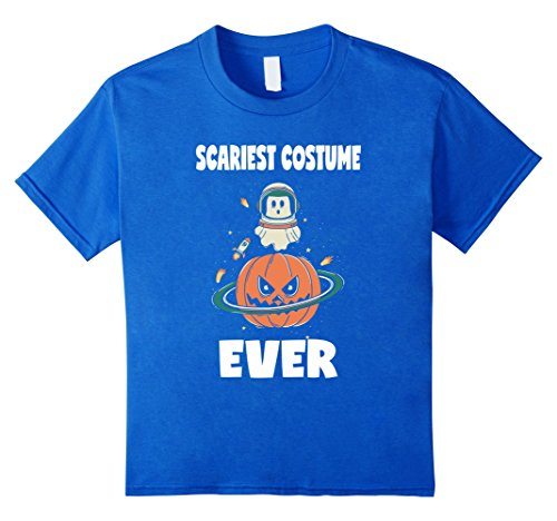 Kids Scariest Costume Ever Pumpkin Halloween Ghost Space T-Shirt 12 Royal Blue (Scariest Girl Costumes)
