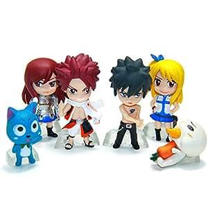 Fairy Tail 6 Piece Figure Set Featuring Natsu Dragneel, Happy, Ezra Scarlet, Gray Fullbuster, Lucy Heartfilia, and Pue (A.K.A. Nokora) Figures