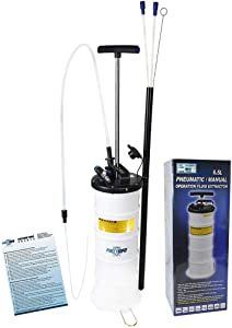 FIRSTINFO 2nd Generation Pneumatic/Manual 6.5 Liter Oil/Fluid Changer Vacuum Extractor Pump w/Hose Storage + 3.5 x 4.5 mm Engine Oil Hose + Dust Cover